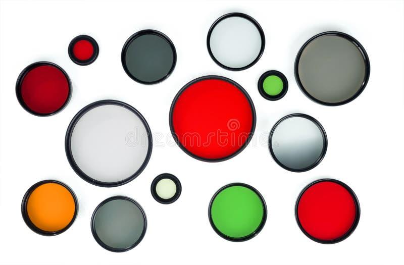 Filtri rotondi di vetro dei colori differenti fotografie stock libere da diritti