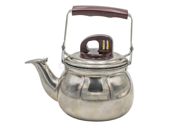 Filtro de aço inoxidável do bule para as folhas de chá Isolado no fundo branco fotografia de stock