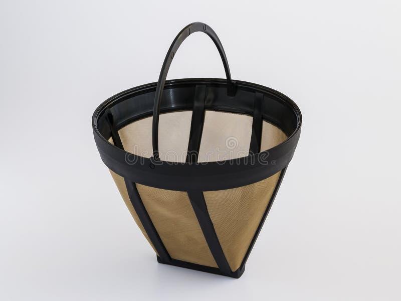 Filtro de café reutilizable de la malla metálica para el fabricante de café del goteo Filtro de café permanente de la cesta en el fotos de archivo