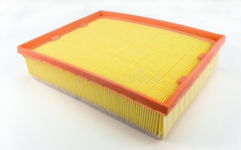 Filtro dell'aria rettangolare per l'automobile, isolato su un fondo bianco con un percorso di taglio fotografia stock