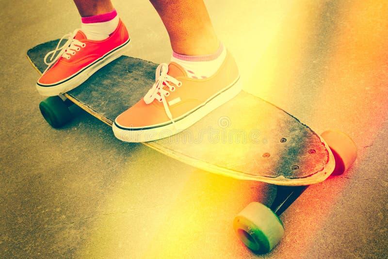 Filtro do vintage do skate imagens de stock