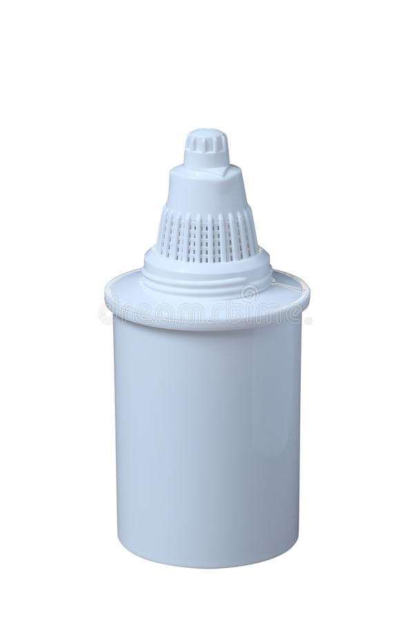 Filtro limpo novo para refinar a água potável isolada no fundo branco Purificação da água potável em casa imagem de stock royalty free