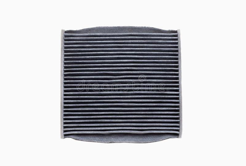 Filtro sporco dal condizionamento d'aria dell'automobile isolato su fondo bianco immagine stock libera da diritti