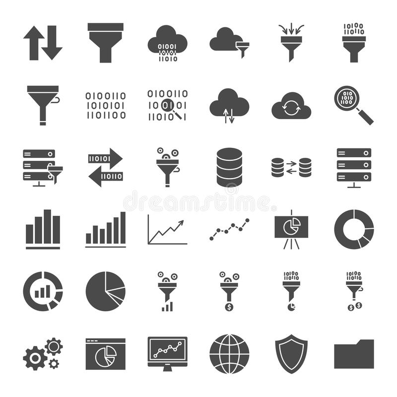 Filtrowe Stałe sieci ikony ilustracji