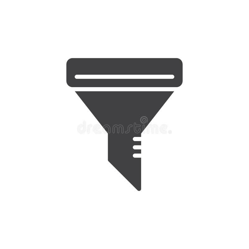 Filtrowego leja ikony wektor, wypełniający mieszkanie znak, stały piktogram odizolowywający na bielu royalty ilustracja
