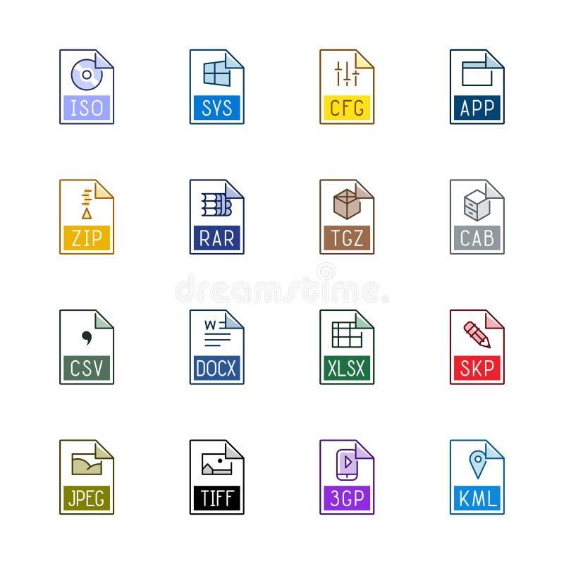 Filtypsymboler: Diverse - Linne Color vektor illustrationer