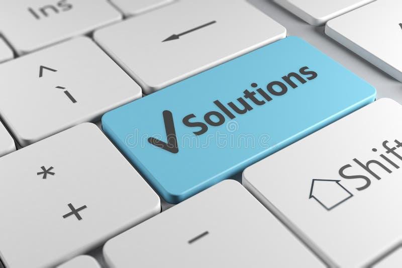 Fim à moda do teclado acima da vista com botão azul e soluções ilustração royalty free