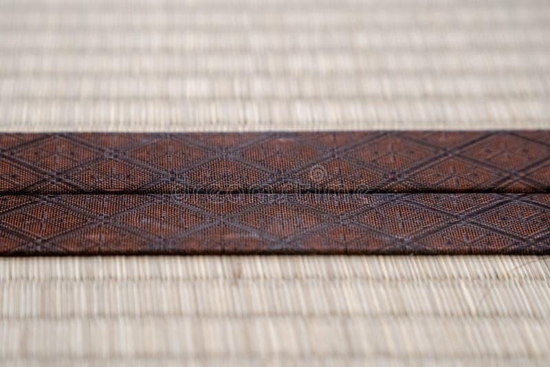 Fim acima da borda tradicional da esteira de Japão Tatami do vintage imagem de stock royalty free