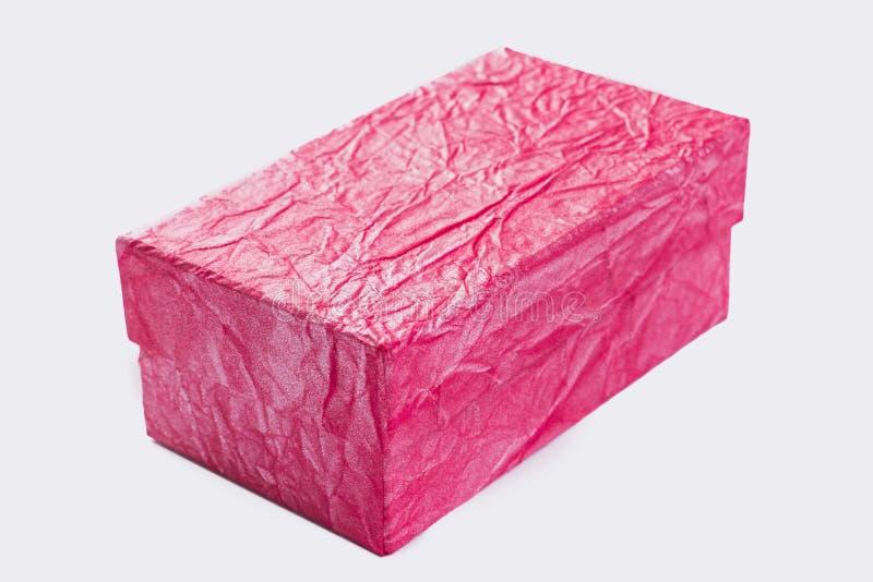 Fim acima da caixa de presente textured cor-de-rosa fotos de stock