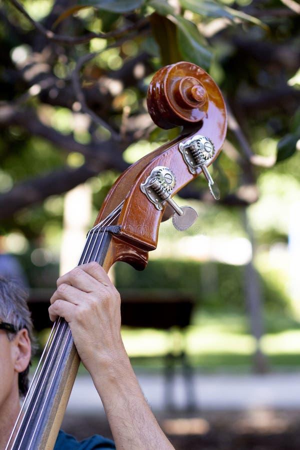 Fim acima da mão que joga o violoncelo imagens de stock royalty free
