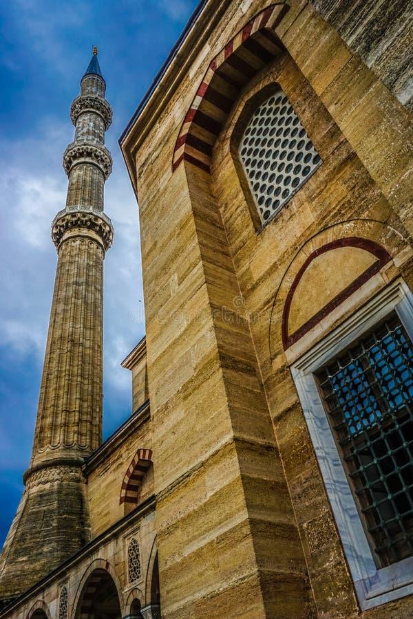 Fim acima da mesquita Camii de Selimiye, projetado por Mimar Sinan em 1575 Edirne, Turquia O local do património mundial do UNESC foto de stock
