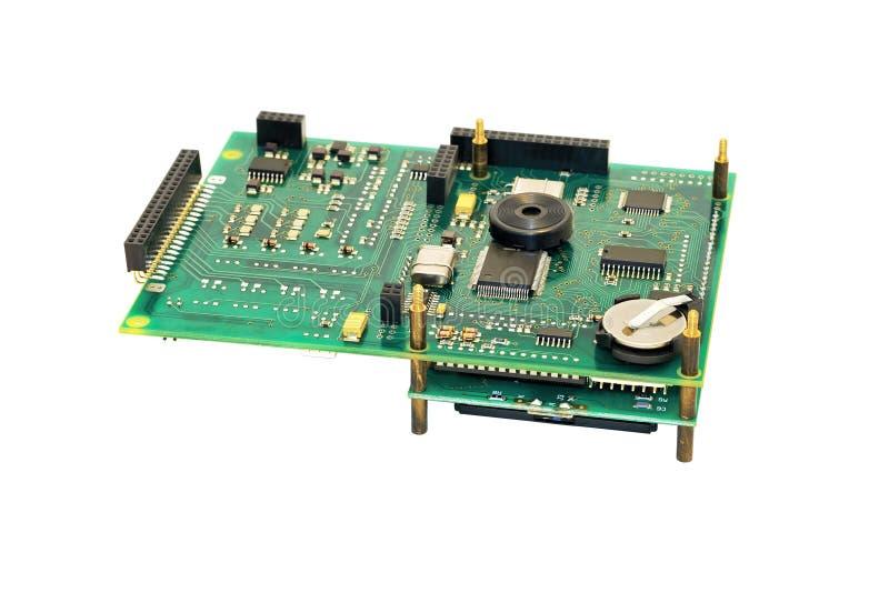 Placa eletrônica com bateria. fotos de stock