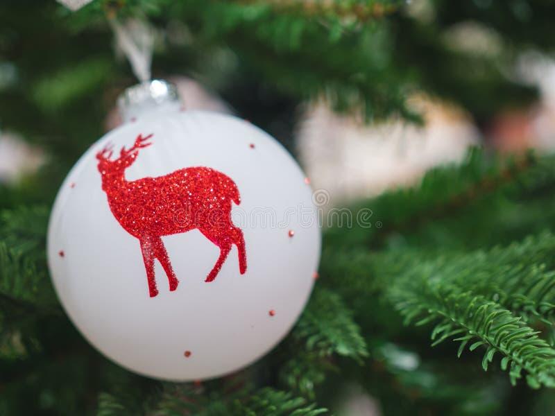 Fim acima da suspensão branca da bola da rena na árvore de Natal imagens de stock royalty free