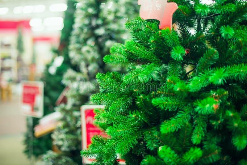 Fim acima das árvores de Natal verdes artificiais para a venda no mercado, loja Prepearing para a Noite de Natal, partido do ano  imagem de stock royalty free
