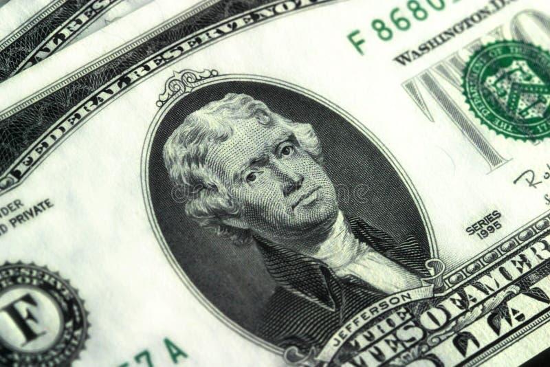 Fim acima - dois dólares Bill fotos de stock royalty free