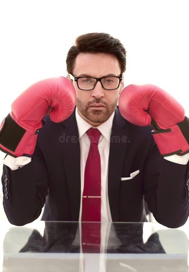 Fim acima luvas sérias de Boxing do homem de negócios imagens de stock royalty free