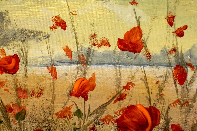 Fim acr?lico da pintura acima Flores vermelhas bonitas das papoilas - fundo floral fotografia de stock royalty free