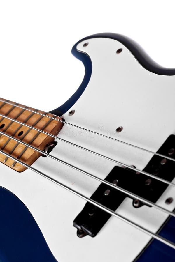 Fim azul da guitarra baixa acima foto de stock royalty free