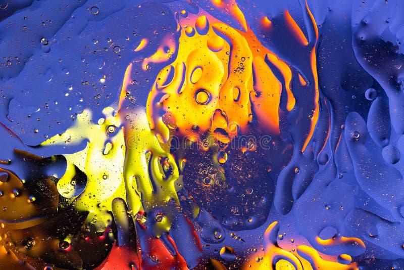 Fim bonito acima do azul da vista, projeto abstrato colorido vermelho, alaranjado, preto, amarelo, textura imagem de stock royalty free
