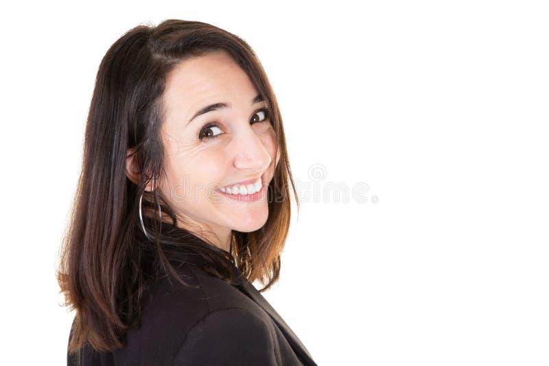 Fim bonito caucasiano novo da mulher de negócio acima do retrato imagem de stock royalty free