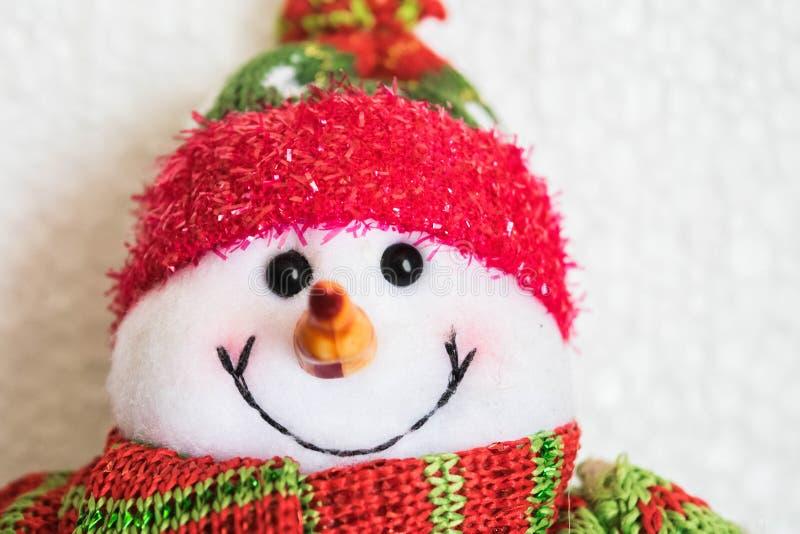 Fim da boneca do homem da neve acima fotografia de stock