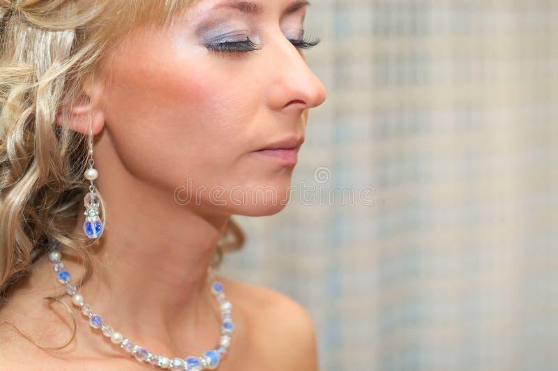 Fim da face do `s da mulher acima fotografia de stock royalty free