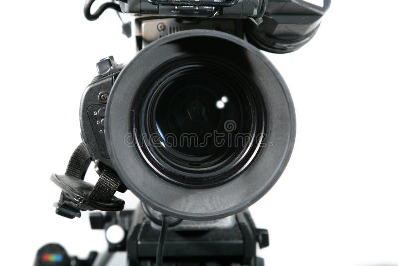 Fim da lente de câmera do estúdio da tevê acima imagens de stock