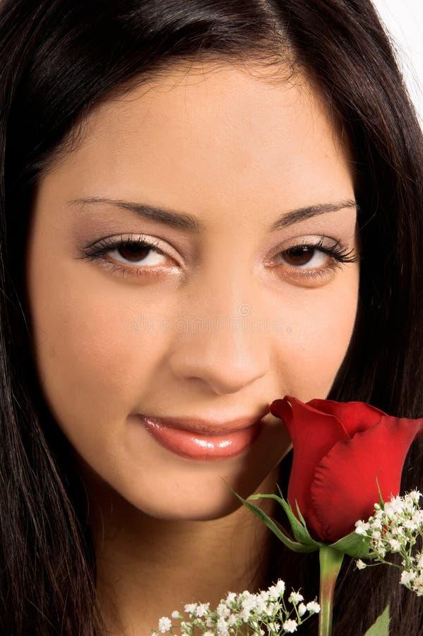 Fim da mulher de Rosa acima fotografia de stock