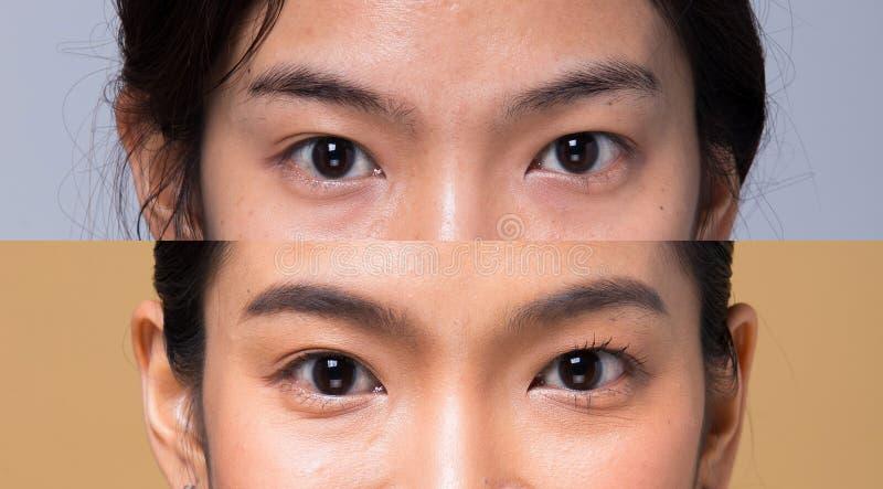 Fim da pele da pestana do olho da parte do corpo acima da mulher fotos de stock