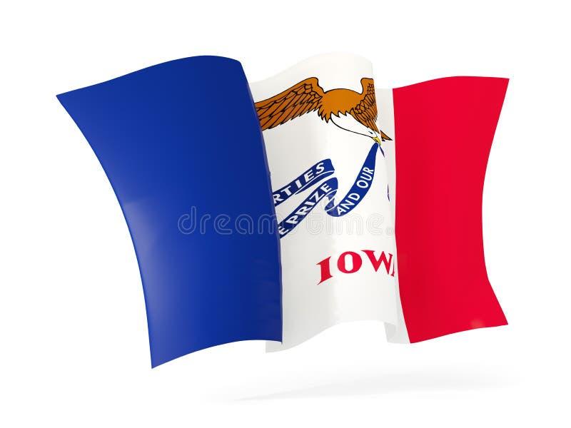 Fim de ondulação do ícone da bandeira do estado de Iowa acima Bandeiras do local de Estados Unidos ilustração royalty free