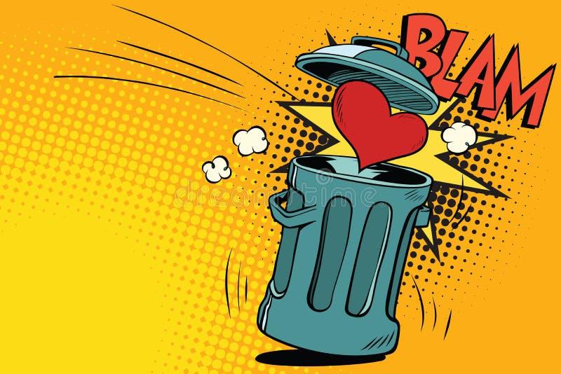 Fim do amor, coração jogado no lixo ilustração royalty free