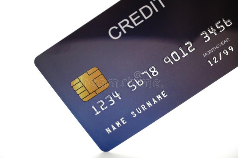 Fim do cartão de crédito acima do tiro com foco seletivo para o fundo fotografia de stock royalty free