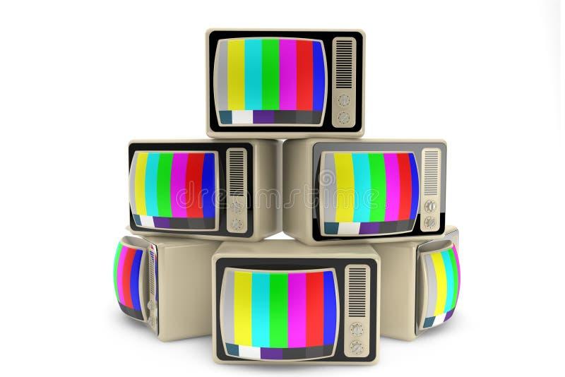 Fim do conceito da televisão. Montão da tevê do vintage fotos de stock royalty free