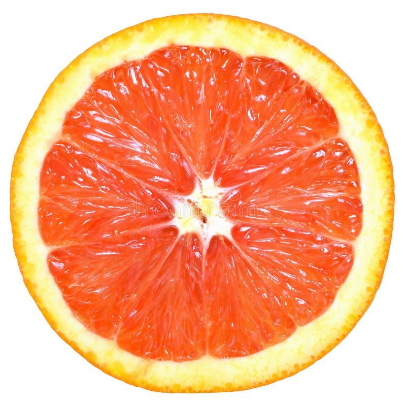 Fim do corte da laranja pigmentada isolado acima fotos de stock royalty free