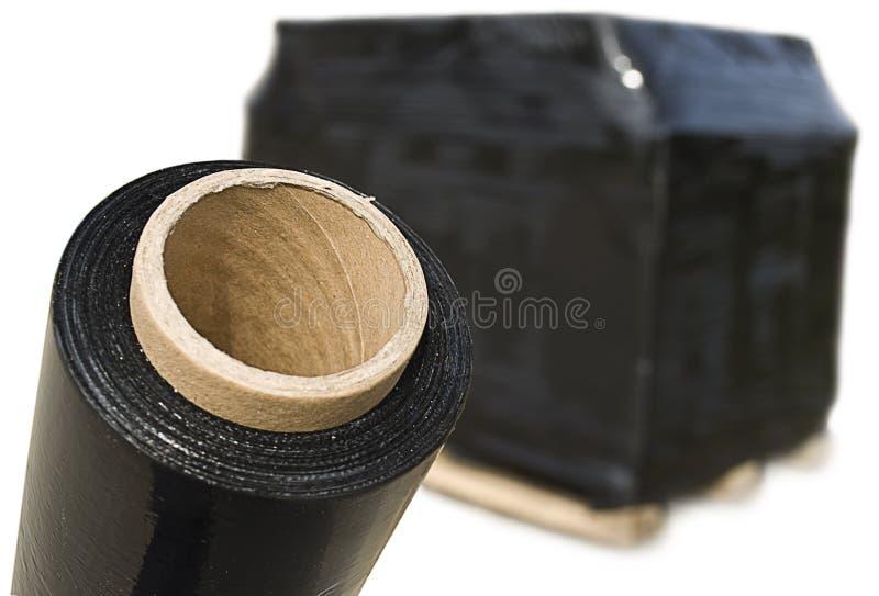 FIM do estiramento e paleta pretas da caixa de cartão imagem de stock