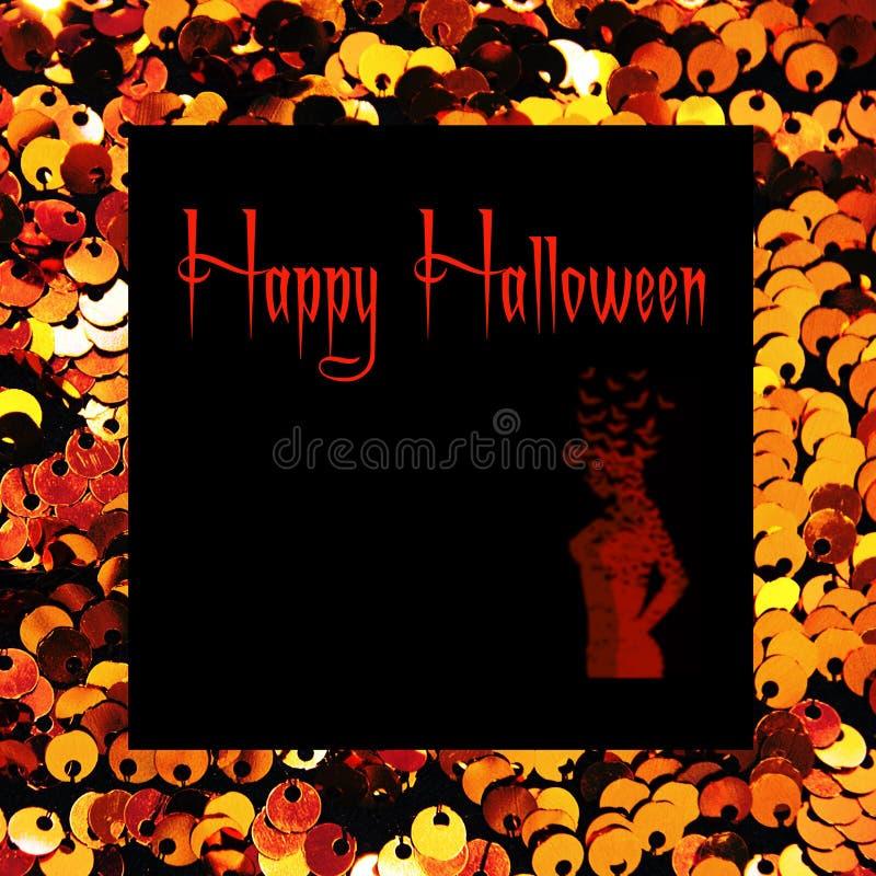 Fim do fundo de matéria têxtil das lantejoulas do ouro acima Textura redonda das lantejoulas Conceito de Halloween fotos de stock royalty free