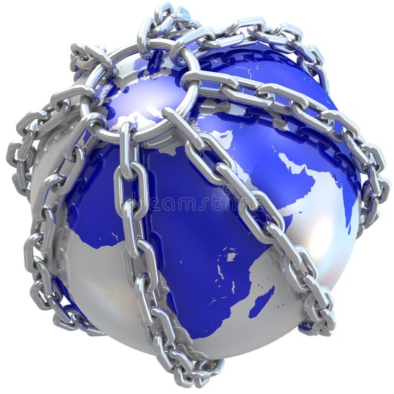 Fim do globo da terra na corrente ilustração royalty free