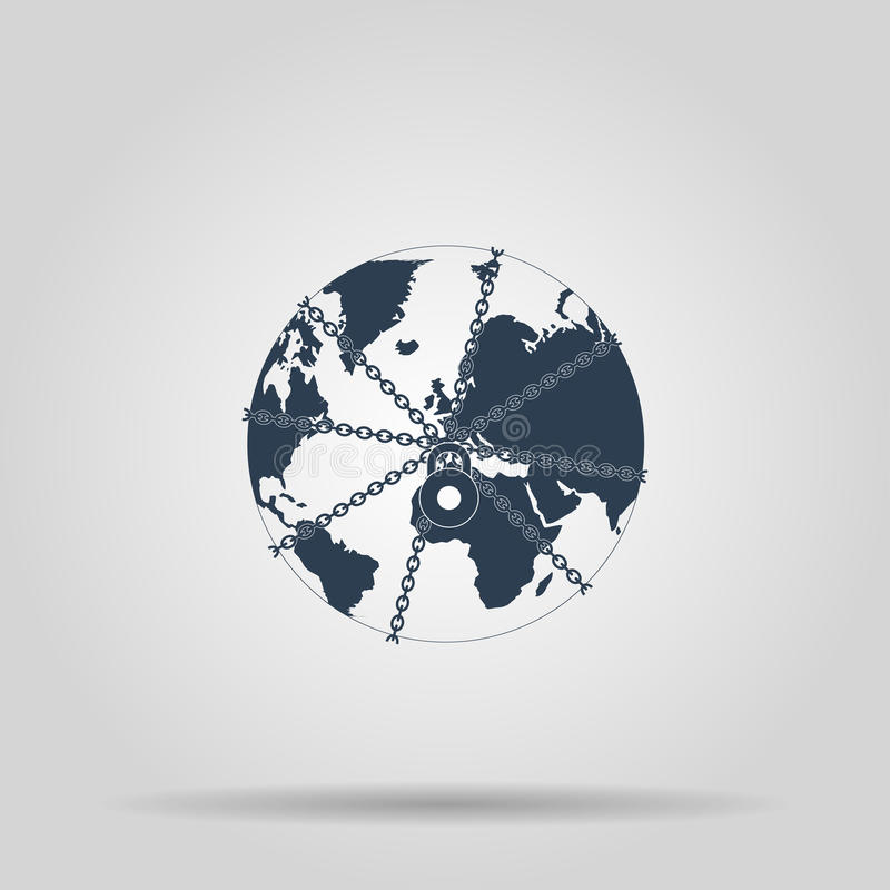 Fim do globo da terra na corrente e no cadeado ilustração royalty free