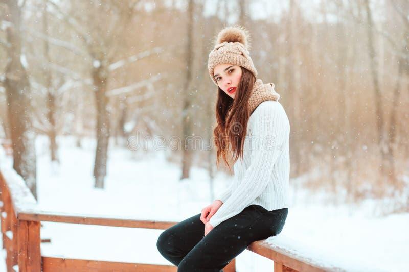 fim do inverno acima do retrato da jovem mulher bonita no chapéu e na camiseta feitos malha fotografia de stock