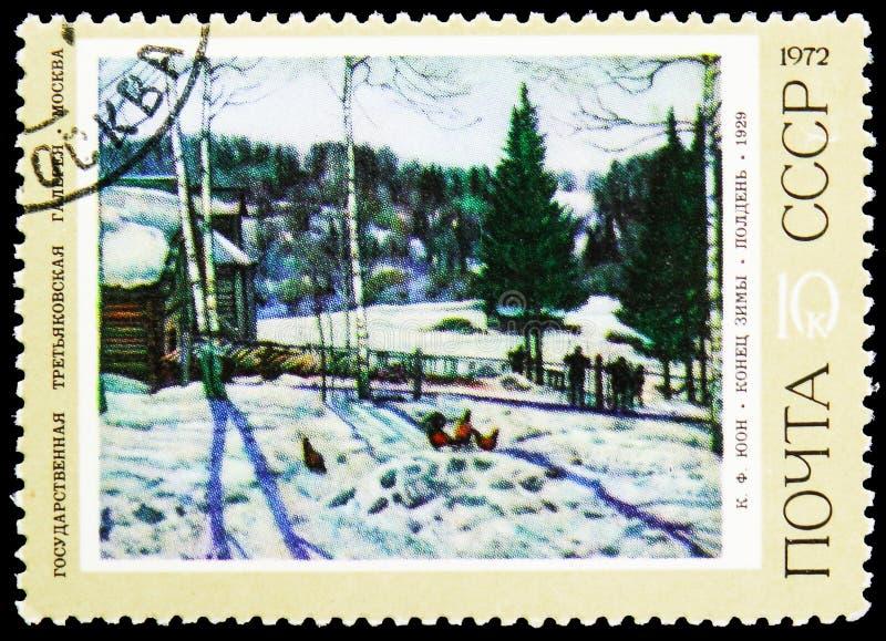 Fim do inverno - meio-dia, por K f Juon, serie soviético das pinturas, cerca de 1972 imagens de stock royalty free