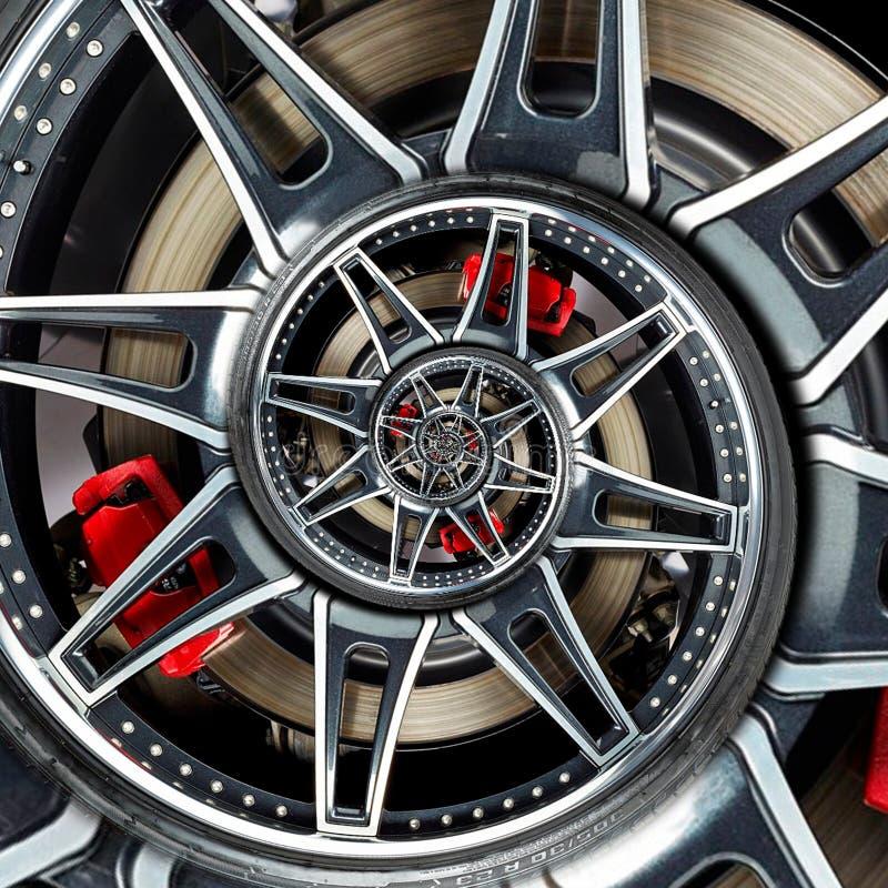 Fim do pneu do disco de freio do fractal do sumário do raio da borda da roda do automóvel do carro desportivo acima da ilustração imagens de stock royalty free