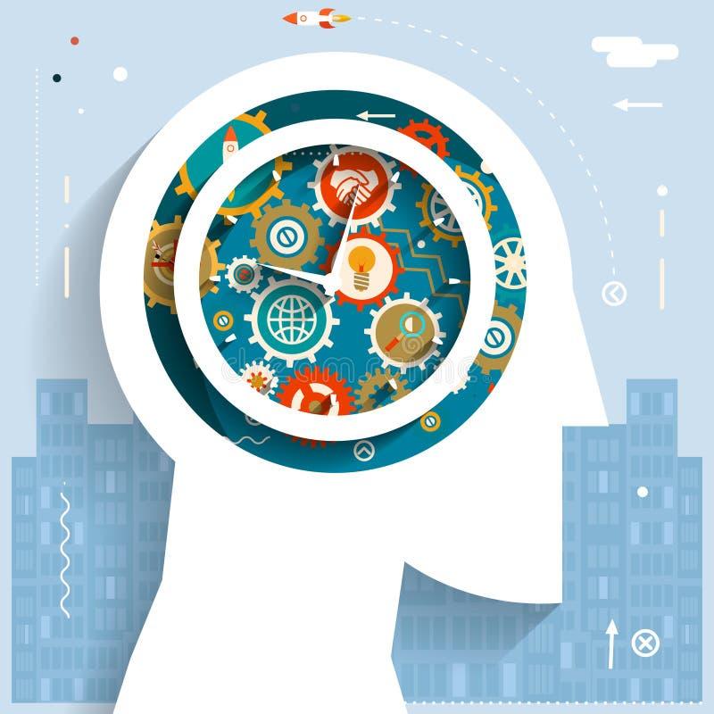 Fim do prazo liso do projeto do fundo do começo da cidade do espaço dos ícones da roda de engrenagem de Head Idea Generation do h ilustração royalty free