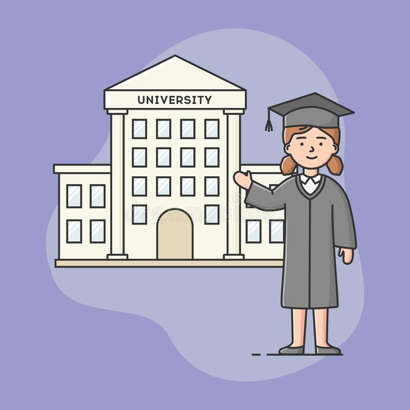 Fim Dos Cursos Universitários E Conceito De Graduação Estudante celebra o fim do treinamento acadêmico Mulher Em Vestido Acadêmic ilustração royalty free