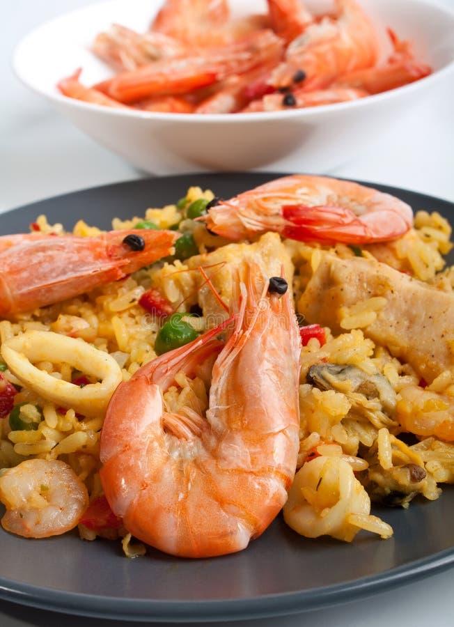 Fim espanhol autêntico saboroso do paella acima imagens de stock royalty free
