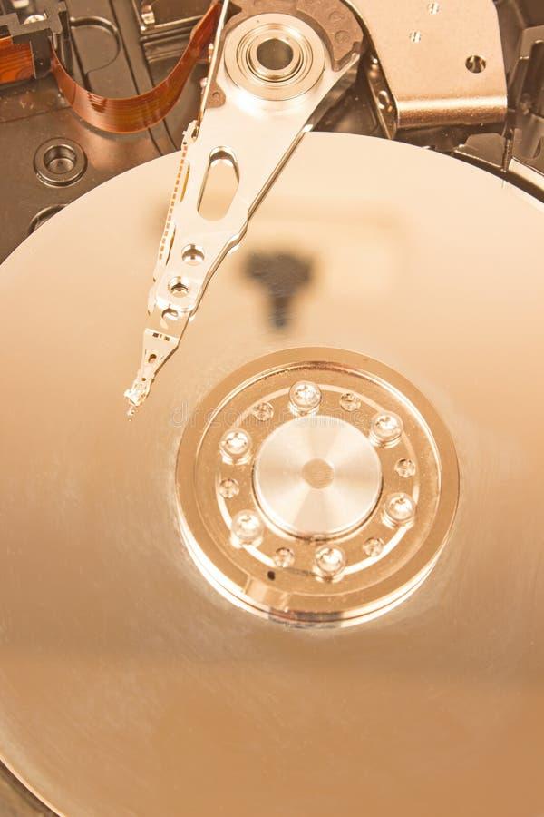 Fim interno do mecanismo do disco rígido acima imagens de stock