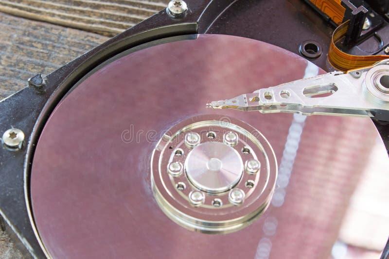 Fim interno do mecanismo do disco rígido acima imagem de stock
