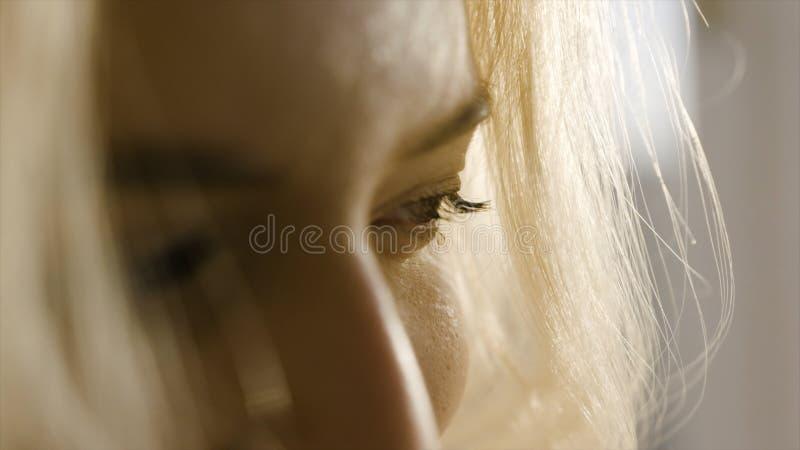 Fim louro bonito da cara da mulher acima a??o Close-up da cara de uma mulher loura bonita no sol fotografia de stock royalty free