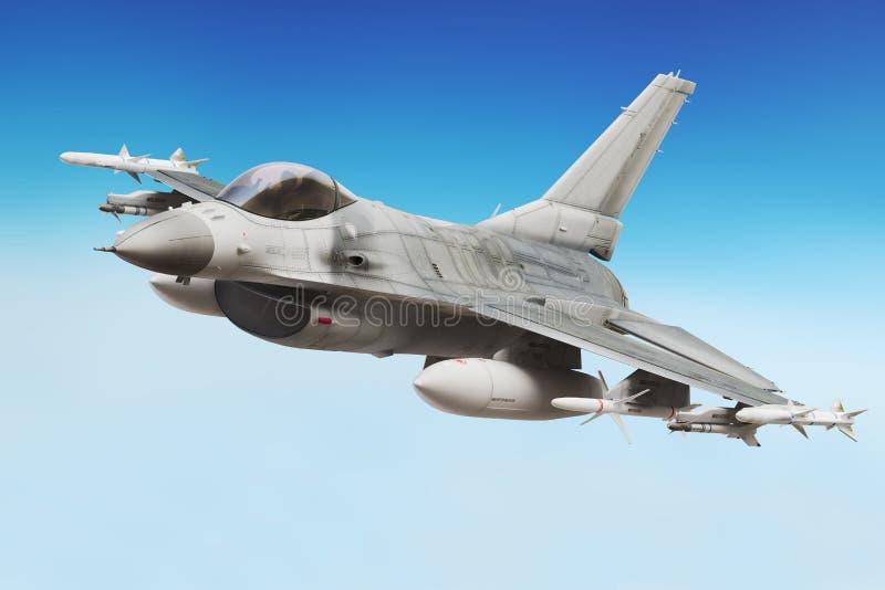 Fim militar do avião de combate acima ilustração do vetor
