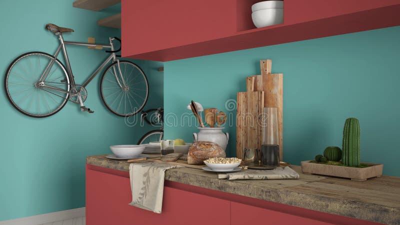 Fim moderno minimalista da cozinha acima com café da manhã saudável, vermelho contemporâneo colorido e design de interiores de tu foto de stock royalty free