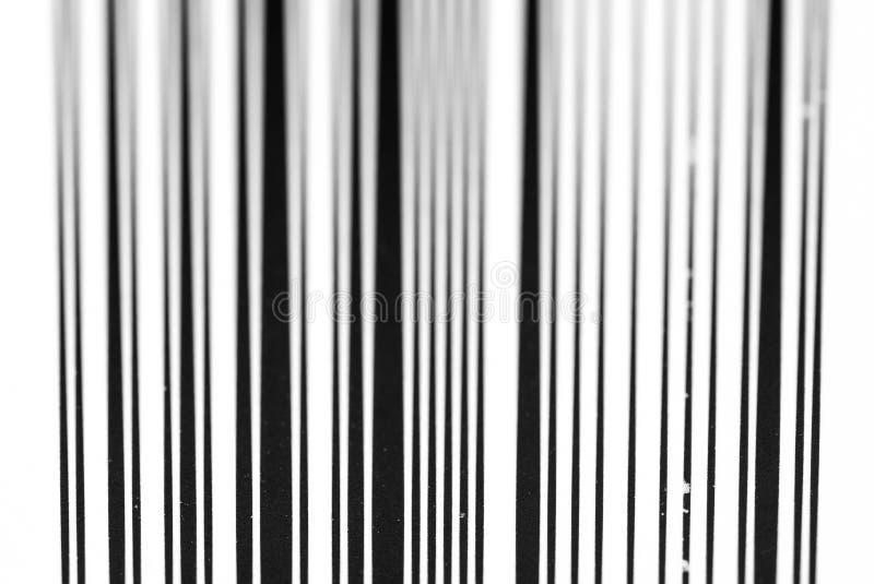Fim preto e branco vertical do c?digo de barras acima do tiro macro fotos de stock